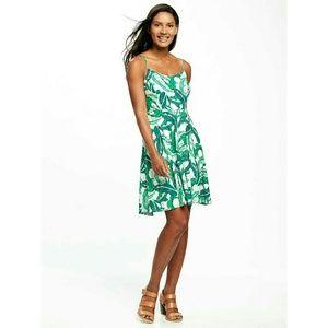 Old Navy Cami Green Leaf Fit & Flare Dress